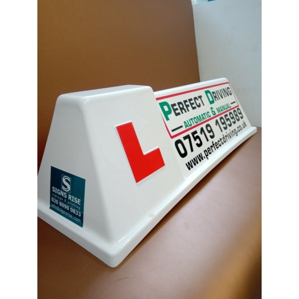 Driving School Car Roof Sign With Magnetic Side & 'L' Learner Vehicle NEW UK 6