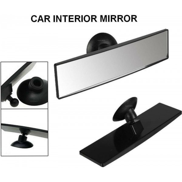 REAR VIEW MIRROR SUCTION CUP DRIVING INSTRUCTOR WIDE ANGLE UNIVERSAL FIT ADHESIV