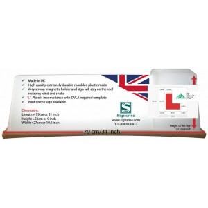 Driving School Car Roof Sign With Magnetic Side & 'L' Learner Vehicle NEW UK