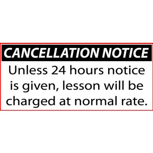 DRIVING SCHOOL / INSTRUCTOR 24 hours CANCELLATION NOTICE sticker 100mmx45mm