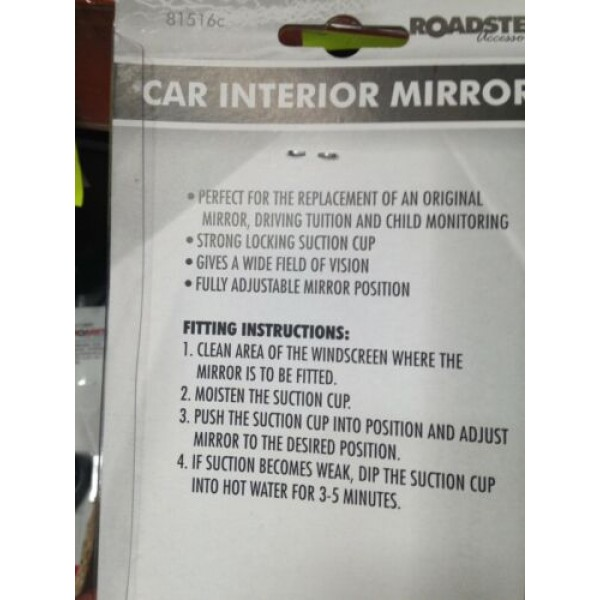 REAR VIEW MIRROR SUCTION CUP DRIVING INSTRUCTOR WIDE ANGLE UNIVERSAL FIT 2