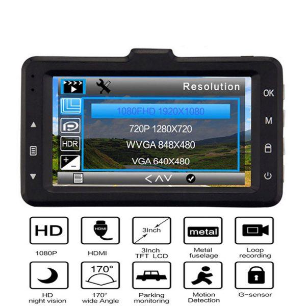 Car Recorder Top Autoregistrar Metal Dashcam Full HD 1080P Auto Recorder Night Vision IMX323 DVR 170 Registrator +Rear 2 Cameras 2