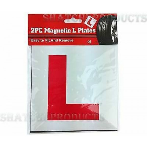 2 x FULLY MAGNETIC L PLATES SECURE Quick Easy To Fix Learner Sign 1